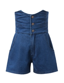 Fashion Navy Blue Washed Three Buckle High Waist Denim Shorts