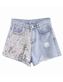 Fashion Blue Shredded Hole: Sequined Denim Shorts