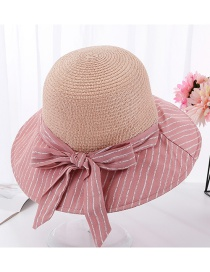 Fashion Pink Splicing Grass Top Stripe Striped Tether Bow Fisherman Hat