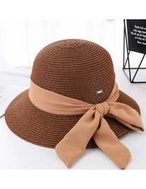 Fashion Coffee Color Ribbon Tether Sun Hat