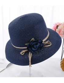 Fashion Navy Flower Curved Pot Hat