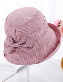 Fashion Leather Powder Striped Curled Bow Visor Cap