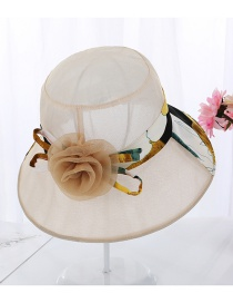 Fashion Beige Foldable Color Matching Flower Large Basin Cap