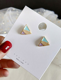 Fashion Blue Stitching Glazed Triangle Stud Earrings