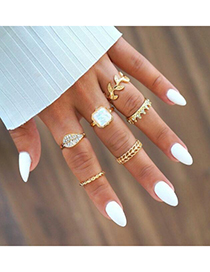 Fashion Gold Full Diamond Crown Geometric Ring Set Of 6