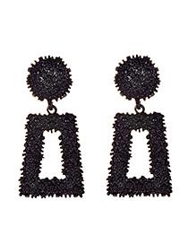 Fashion Black Alloy Rectangular Earrings