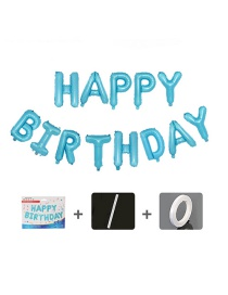 Fashion Us Version Of Blue Birthday Set [sipper Ribbon] 16 Inch Letter Inch Aluminum Foil Balloon Set