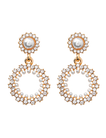 Fashion Ring Diamond Round Pearl 925 Silver Pin Stud Earrings