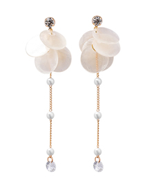 Fashion White 925 Silver Needle Shell Earrings
