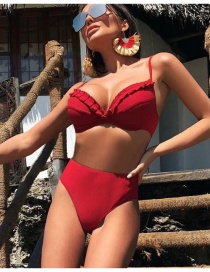 Fashion Red Pleated Hard Pack Split Swimsuit