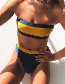 Fashion Color Tube Top Stitching Split Swimsuit