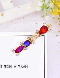 Fashion Color Alloy Large Drop Drill Hair Clip