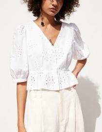 Fashion White Cotton Puff Sleeve Lace Top
