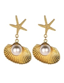 Fashion Champagne Alloy Starfish Shell Pearl Earrings