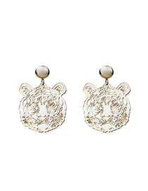 Fashion Gold Mirror Acrylic Hollow Tiger Earrings