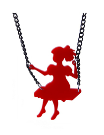 Fashion Red Little Girl Pendant Necklace Swinging