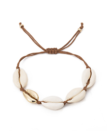 Fashion Golden Asymmetric Shell Alloy Adjustable Bracelet