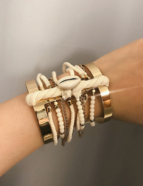 Fashion Gold Multilayer Tie Line Shell Bracelet