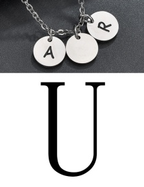 Fashion Steel Color U Letter Corrosion Dripping Round Medal Pendant