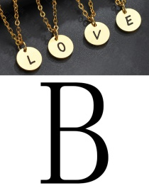 Fashion Golden B Letter Corrosion Dripping Round Medal Pendant