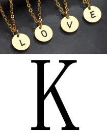 Fashion Golden K Letter Corrosion Dripping Round Medal Necklace