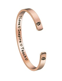 Fashion Rose Gold C-shaped Glossy Love Inspireteach Letter Love Bracelet
