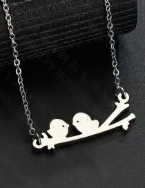 Fashion Gold Twig Two Bird Necklace