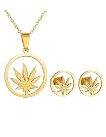 Fashion Gold Hollow Maple Leaf Necklace Set