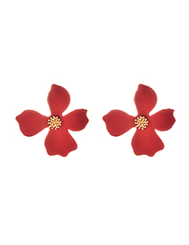 Fashion Red Alloy Flower Earrings