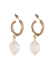 Fashion Gold Alloy Irregular Pearl Earrings