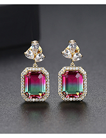 Fashion Color Square Gradient Earrings