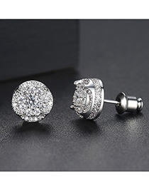 Fashion Silver Micro-set Round Earrings
