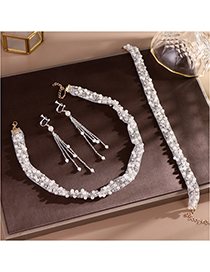 Fashion White Pearl Sequins Headband Earrings Set