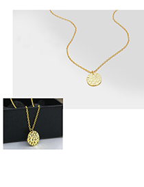 Fashion Gold 925 Silver Round Pendant Necklace