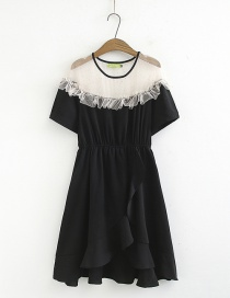Fashion Black Lace Mesh Yarn Stitching Ruffled Dress