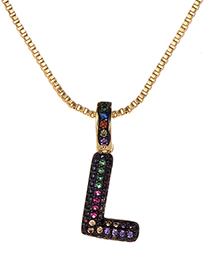 Fashion L Gold Copper Inlaid Zircon Letter Necklace