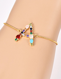 Fashion A Gold Copper Inlaid Zircon Letter Bracelet