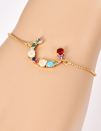 Fashion C Gold Copper Inlaid Zircon Letter Bracelet
