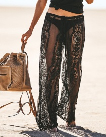 Fashion Black Lace Perspective Lace Trousers