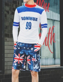 Fashion Blue Two-piece Long-sleeved Split Beach Pants Men's Swimwear
