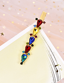Fashion Color Alloy Water Drop Drill Hair Clip