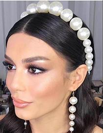 Fashion White Alloy Pearl Headband