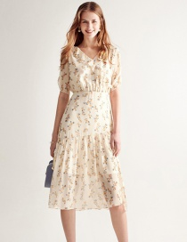 Fashion Color Floral Ruffled Dress