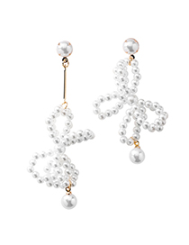 Fashion Pearl Bow Asymmetrical 925 Silver Needle Fringe Asymmetric Earrings