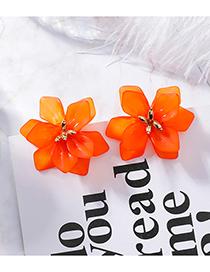 Fashion Orange 925 Silver Needle Scrub Flower Earrings