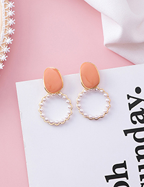 Fashion Orange (pearl Ring) Drip Transparent Earrings
