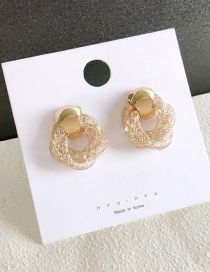 Fashion Gold Gold Wire Winding Ring Crystal Stud Earrings