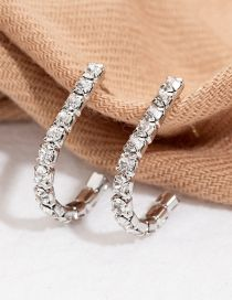 Fashion Silver U-shaped Diamond Earrings