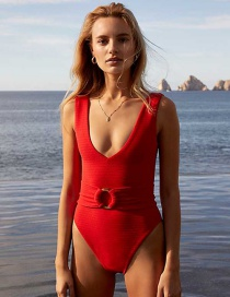 Fashion Red Circle Belt One-piece Swimsuit