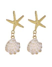 Fashion Gold Alloy Starfish Shell Earrings